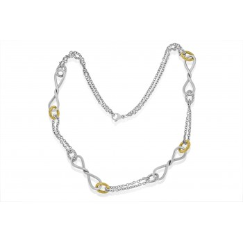 Sterling Silver & 18ct Gold Gemoro Infinity Necklet