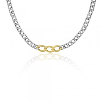 Sterling silver & 9ct Yellow Gold Gemoro Curb Chain