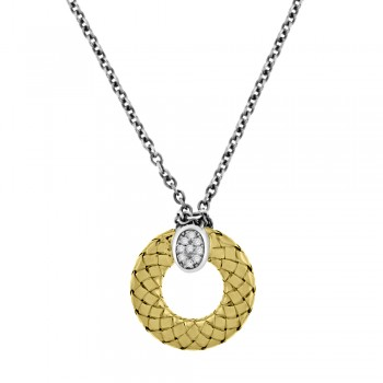 Sterling Silver & 18ct Yellow Gold Gemoro Circle Pendant Chain