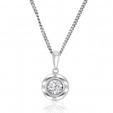 Sterling Silver Cubic Zirconia Solitaire Pendant Chain