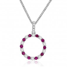 Sterling Silver Ruby Circle of Life Pendant Chain