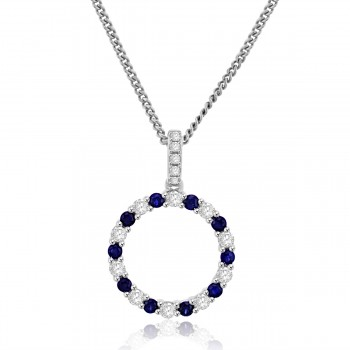 Sterling Silver Sapphire Circle of Life Pendant Chain