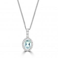 Sterling silver Aquamarine Halo Pendant