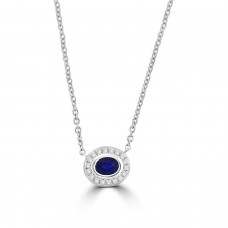 Sterling silver Sapphire Rubover Pendant Chain