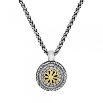 Sterling silver & 18ct Yellow Gold Gemoro Wheel Pendant