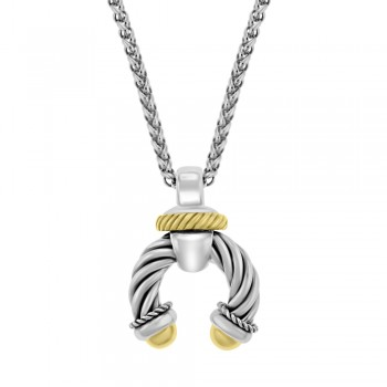 Sterling Silver & 18ct Yellow Gold Gemoro Horseshoe Pendant