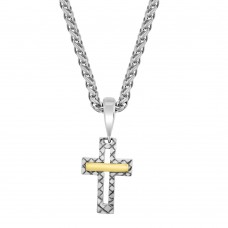 Sterling Silver & 18ct Yellow Gold Gemoro Cross Pendant