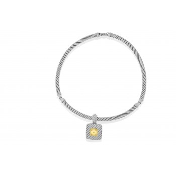 Sterling Silver & 18ct Gold Diamond Gemoro Pendant