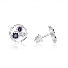 Sterling silver Amethyst and Cubic zirconia Stud Earrings