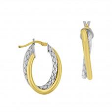 Sterling Silver & 18ct Gold Gemoro Hoop Earrings