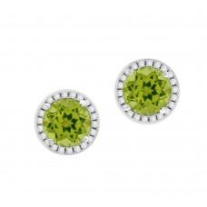 18ct White Gold Peridot Diamond Halo Stud Earrings