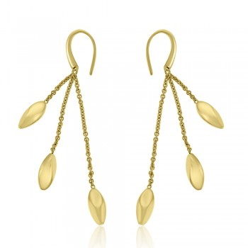 18ct Gold Triple Nugget Dropper Earrings