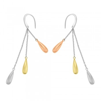 18ct Yellow, Rose & White Gold Drop Earrings