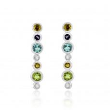 9ct White Gold Multi-colour Stone & Diamond Drop Earrings