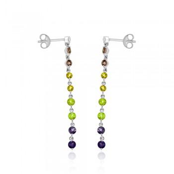 9ct White Gold Diamond & semi-precious Gemstone Drop Earrings