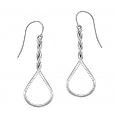 9ct White Gold Pear Twist Drop Earrings
