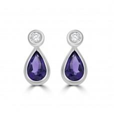 9ct White Gold Amethyst & Diamond Pear Stud Earrings