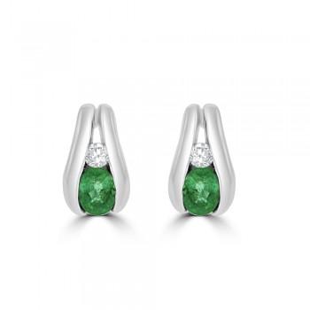 9ct White Gold Emerald & Diamond Channel stud Earrings
