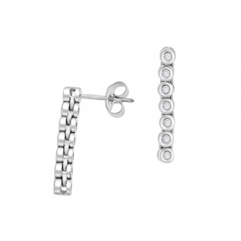 9ct White Gold Diamond Flexi Bar Drop Earrings