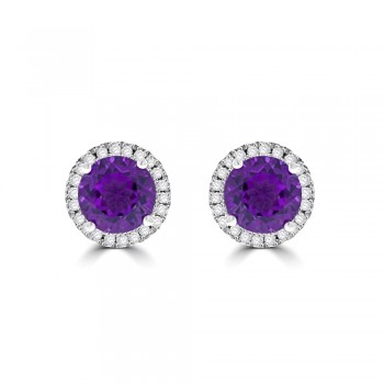 9ct Gold Amethyst Halo Stud Earrings