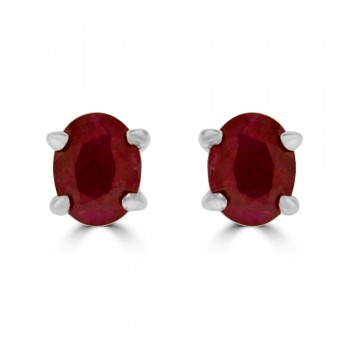 9ct Gold Ruby Solitaire Stud Earrings