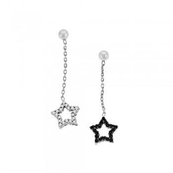 9ct White Gold Black & White CZ Star Drop Earrings