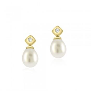 9ct Gold Diamond stud & Pearl Drop Earrings