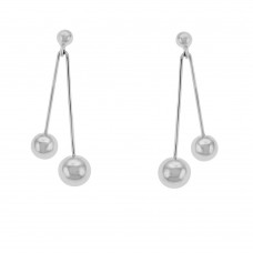 9ct White Gold Double Bead Drop Earrings
