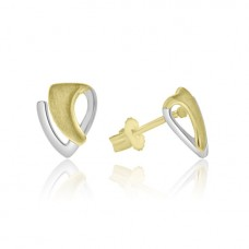 9ct Yellow & White Gold Wedge Stud Earrings