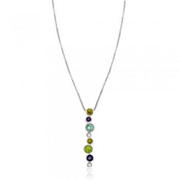 9ct White Gold Diamond & Multi-colour Gemstone Pendant Chain