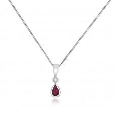 9ct White Gold Pear Ruby & Diamond Pendant