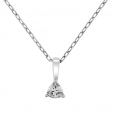 9ct White Gold Trillion cut Cubic Zirconia Pendant