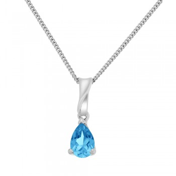 9ct White Pear cut Blue Topaz Pendant