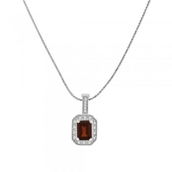 9ct White Gold Emerald cut Garnet & Diamond Halo Pendant