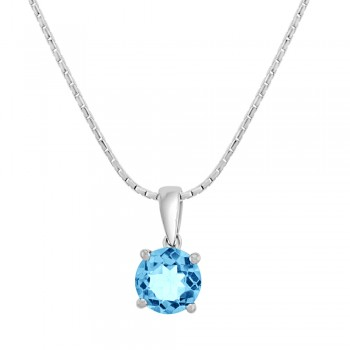 9ct White Gold Round Blue Topaz Pendant