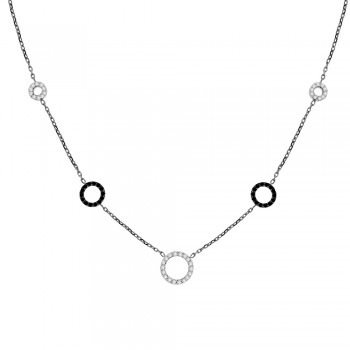 9ct White Gold Black & White Cubiz Zirconia Pendant Chain
