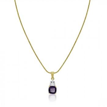 9ct Gold Cushion Amethyst & Diamond Pendant