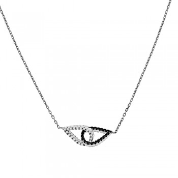 9ct White Gold Black & White Cubic Zirconia Pendant Chain