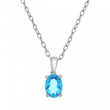 9ct White Gold Oval Blue Topaz Pendant