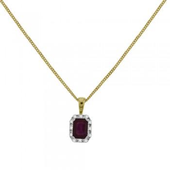 9ct Gold Emerald cut Ruby Diamond Halo Pendant
