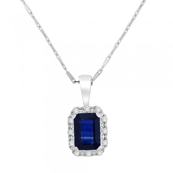 9ct White Gold Emerald cut Sapphire Diamond Halo Pendant