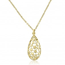 9ct Rose Gold Pear Drop Pendant Chain