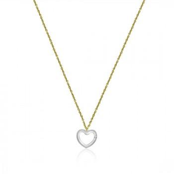 9ct Yellow & White Gold Open Heart Diamond 16