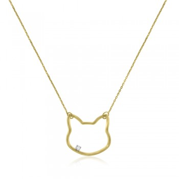 9ct Gold Cat Pendant Chain with Diamond
