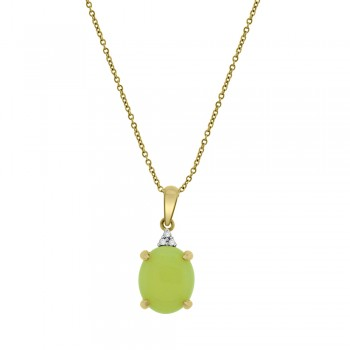 9ct Gold Opal & Diamond Pendant Chain
