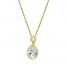 9ct Gold Pear & Brilliant Cubic Zirconia Pendant Chain