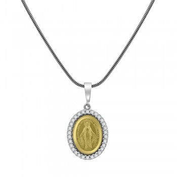 9ct Yellow & White Gold Cubic Zirconia Miraculous Medal Pendant