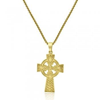 9ct Gold Engraved Celtic Cross Pendant