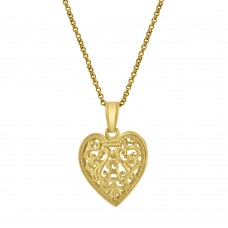 9ct Gold Filigree Heart Pendant