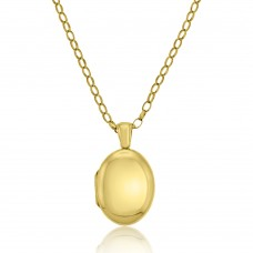 9ct Gold Oval Heavy Locket Pendant